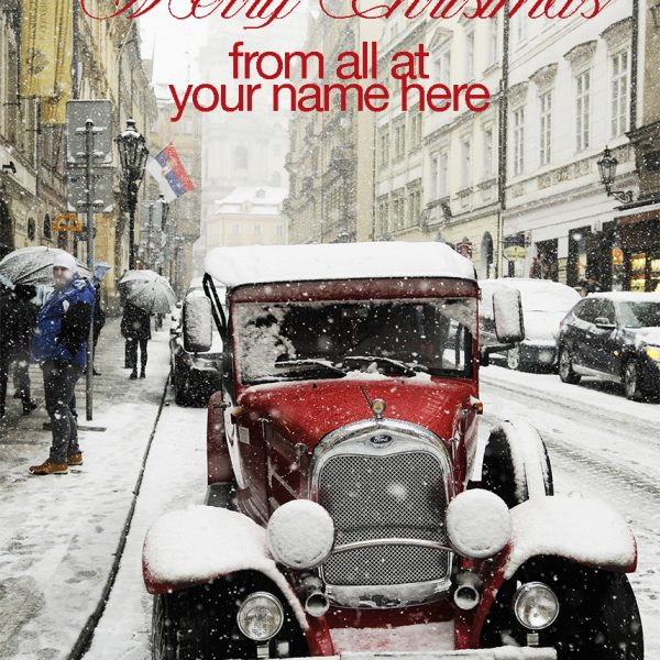 Corporate Christmas card featuring a vintage car-from the Christmas Card Company